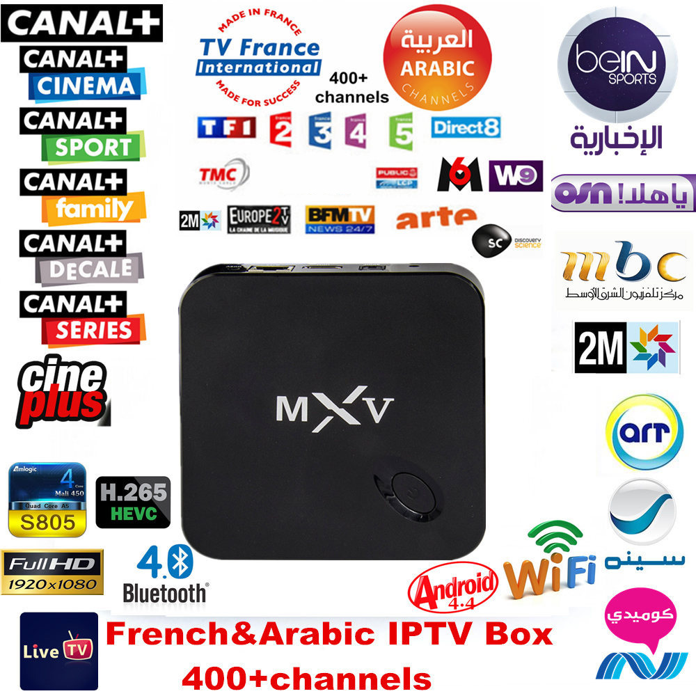 1 Year Arabic French IPTV included Android TV Box MXV Support Sport
