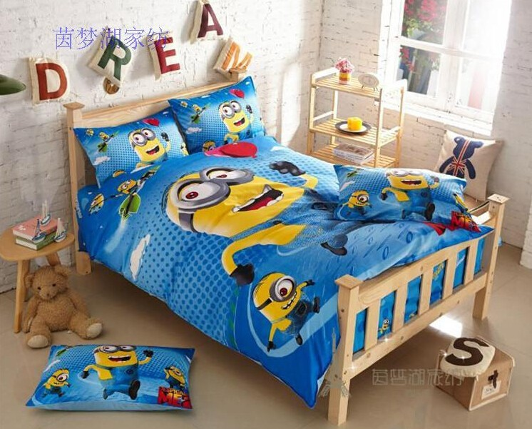 2015 100 Cotton Minion Bed Sheet For Baby Bed Cartoon