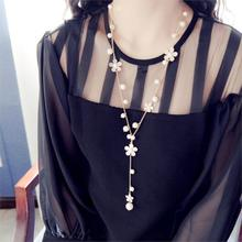 New Fashion Simple desgin Trendy Romantic style Plastic Pearl Flower Women Jewelry Tassels Long necklaces 2015