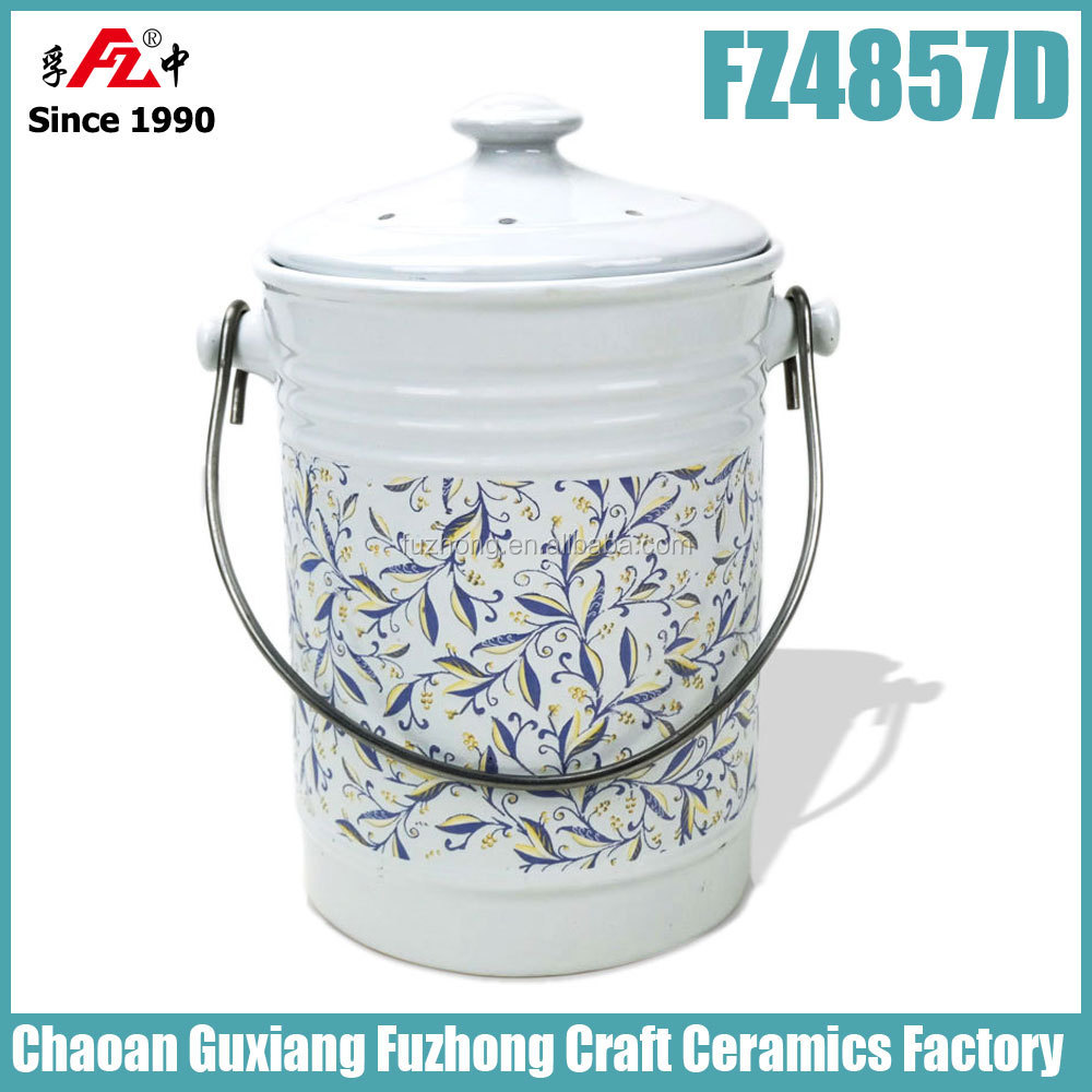 kitchen ceramic compost bin compost bucket compost pail with carbon