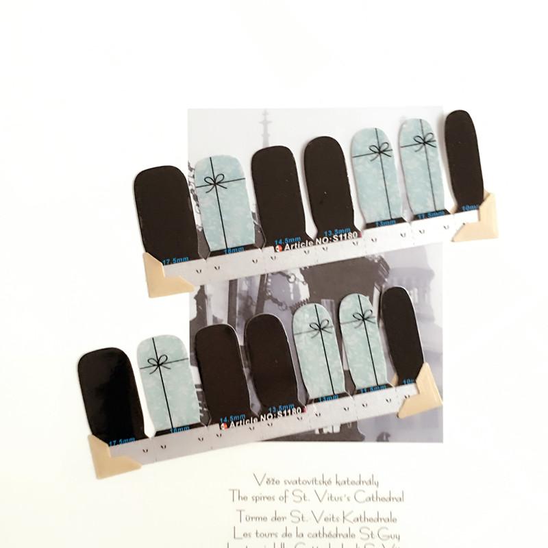 Blue And Black Nail Arts Sticker 14 pcs set Waterproof Nail Decal Art Sticker Gel Polish