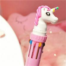 Kawaii 10 цветов цветная шариковая ручка с рисунком единорога милые многоцветные шариковые ручки для письма школьные корейские канцелярские т...(Китай)