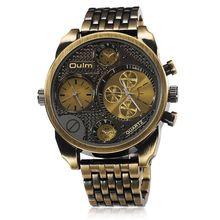 Oulm Marca de Luxo Homens Relógio de Aço Cheio de Ouro Tamanho Grande Antique Masculino Casual Relógios de Pulso Militar Relogio masculino