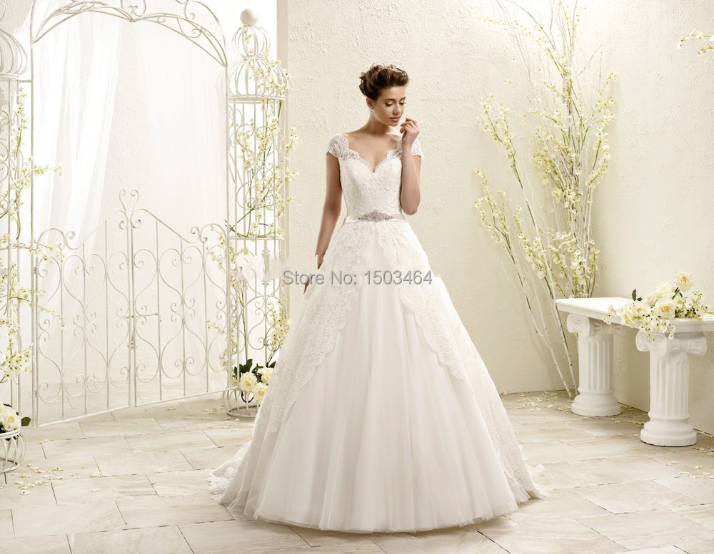 Vintage Wedding Dresses Cheap: Discount Sweetheart Appliqued Cap Sleeves Beaded Ball Gown