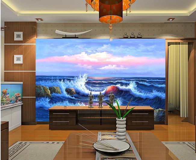 haute qualit lumineux bleu mer papier peint fresque murale 3d papel de parede photo 3d hd mur. Black Bedroom Furniture Sets. Home Design Ideas