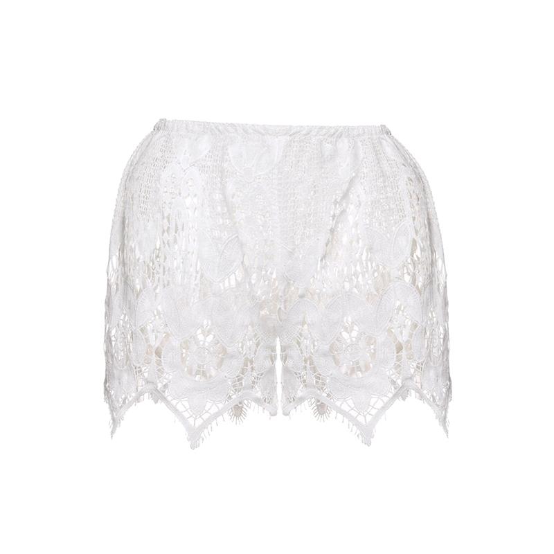 Большой размер 2015 новый летний стиль женщины шорты эластичный мода белого кружева пляж вышивка сексуальный полые-out свободного покроя короткие Feminino