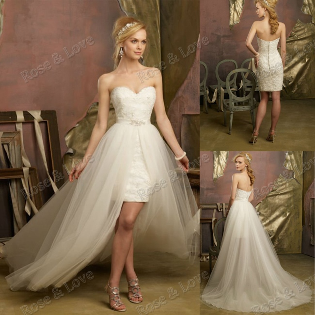 Wedding Dresses With Detachable Tail: Aliexpress.com : Buy Short Wedding Dress With Detachable