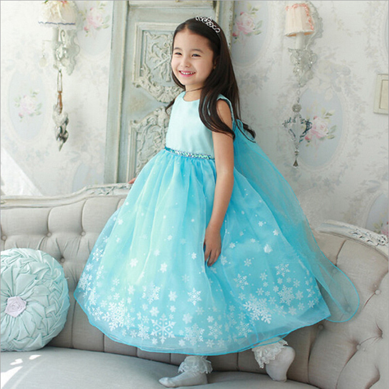 2016 New Kids Anna Elsa Costume font b Dress b font For Girls Princess font b