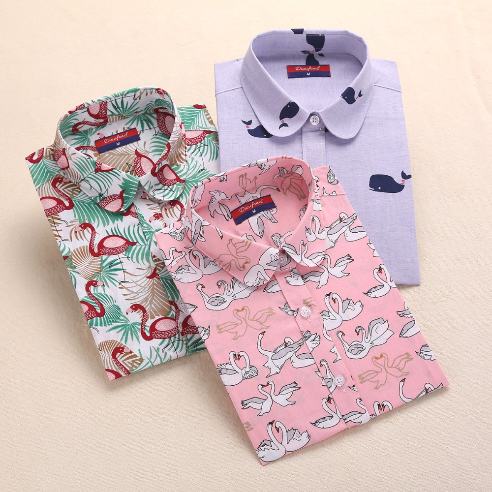Brand New Long Sleeve Cotton Floral Shirts Lapel Vintage Women Shirts Casual Bohemia Woman Blouses Plus