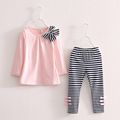 2016 Spring Autumn Girls Clothing Sets Baby Kids Clothes Suit Children Full Sleeve Striped T Shirt