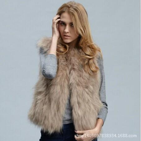 European and American fashion artificial imitation Plush camel fox fur Faux Fur Vest short font b