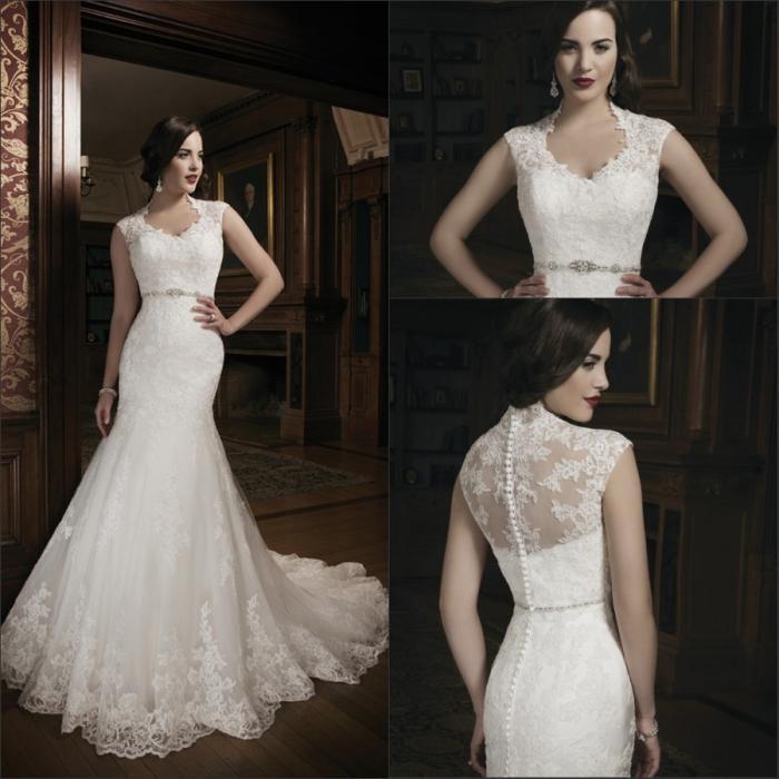 2015 Fashion Mermaid White Sheer Wedding Dresses