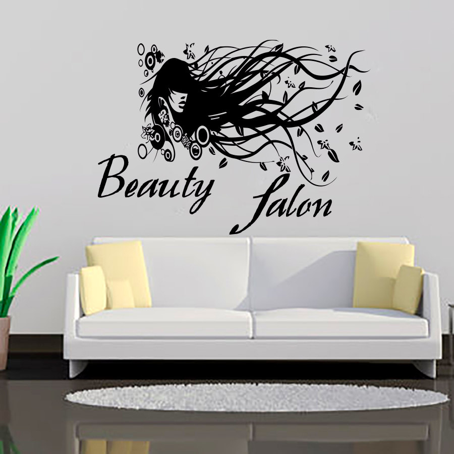 Beauty Salon Long Hair Lady Wall Decals Creative Home Decor Vinyl Removable DIY Wall Art Stickers