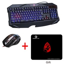 Blue Illuminated LED Backlit USB Wired Multimedia Multi-function Gaming Game Keyboard Mouse Mice Combos for PC Laptop Gamer