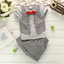 Summer Gentleman Baby Boy Clothing Set Butterfly Bow Tie Waistcoat T shirt Shorts 2pcs Kids Suit