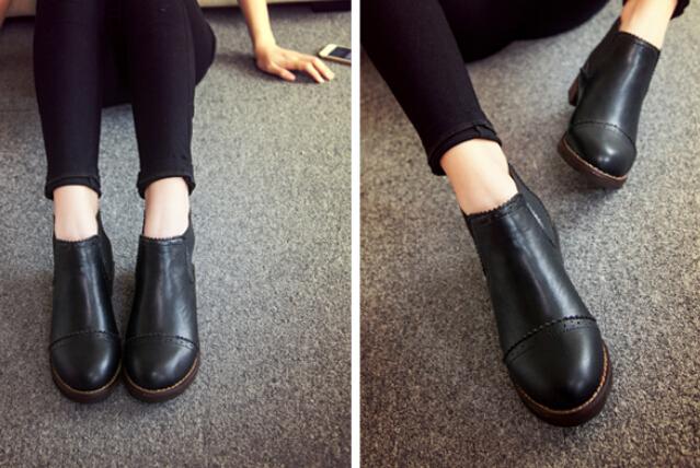 2b622743139c Black Leather Ankle Boots Women Flat - Boot Ri