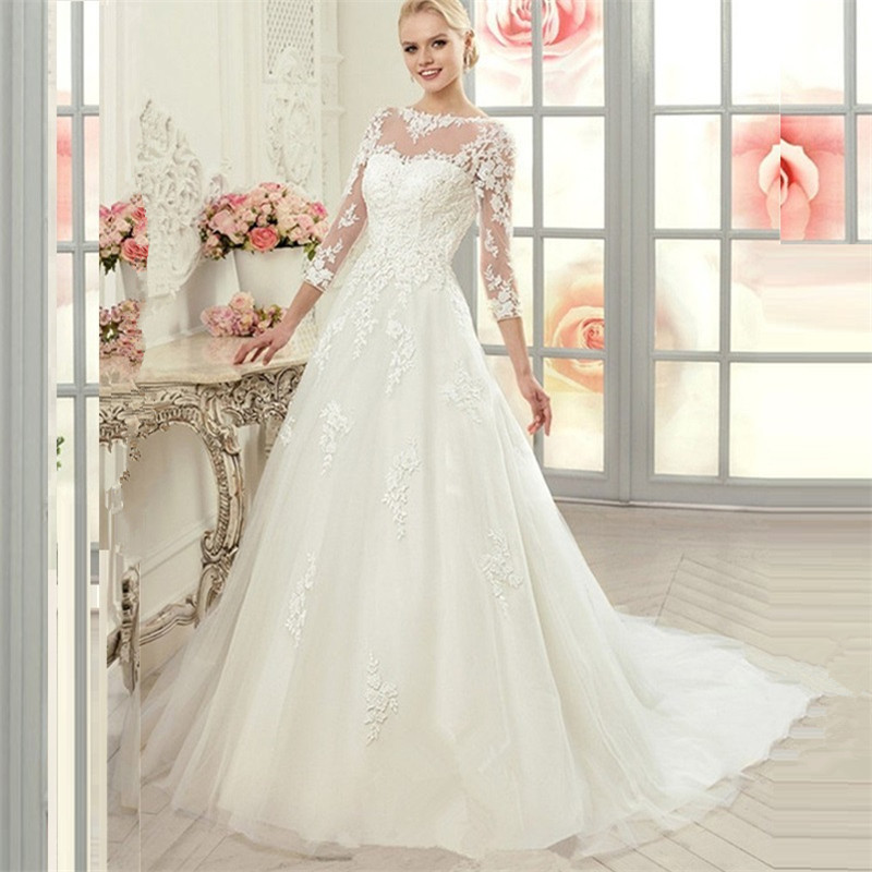 Princess Wedding Gowns With Sleeves: 2015 Vintage 3/4 Sleeve Princess Lace Ball Gown Wedding