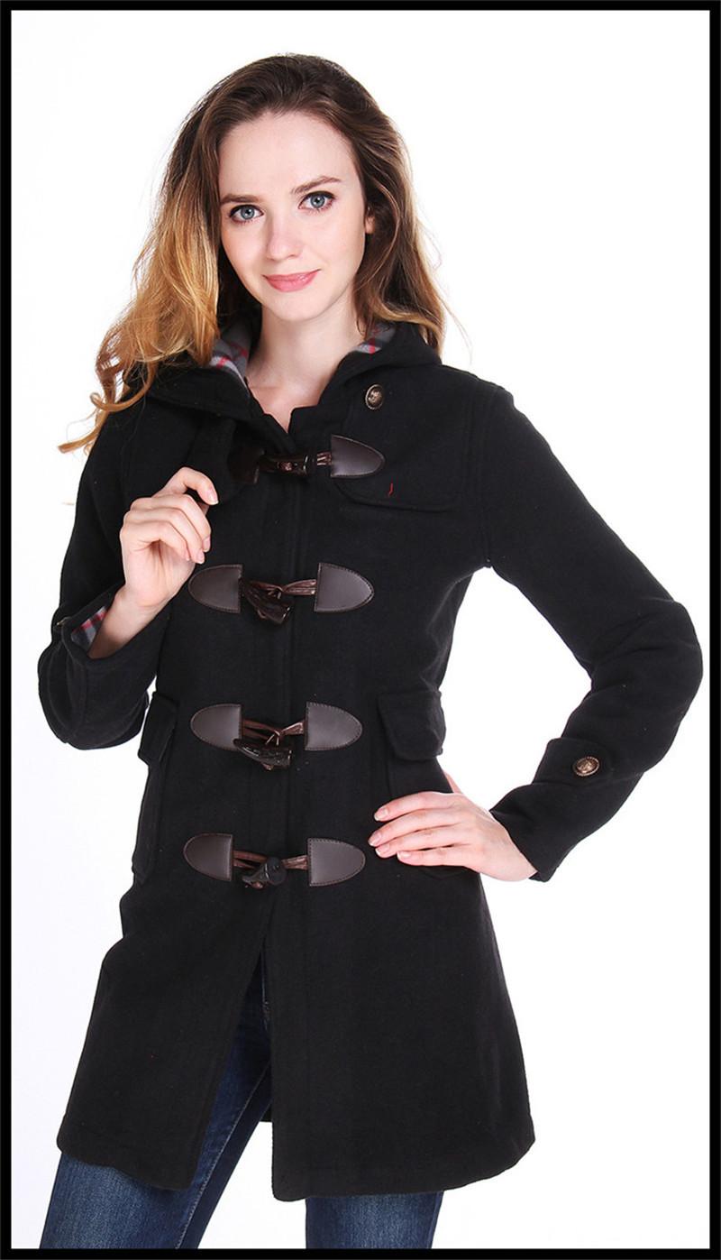 femmes manteau de laine d 39 hiver long manteau duffle coat hoodies manteaux veste chaude filles. Black Bedroom Furniture Sets. Home Design Ideas