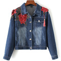 2016 New Women Fashion Vintage Blue Denim Bomber Jacket Boyfriend Style Tassel Pockets Flowers Embroidery Casual