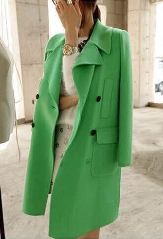 Green Womens Pea Coat Jacketin