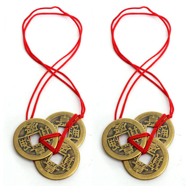 2 Sets Of 3 Chinese Feng Shui Coins For Wealth And Success