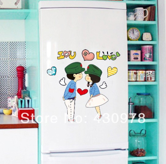 New Arrive QZ1198 Free Shipping Young Love Couple guerrillas Hat Removable PVC Wall Stickers <font><b>Elegant</b></font> <font><b>Home</b></font> <font><b>Decoration</b></font> Gift
