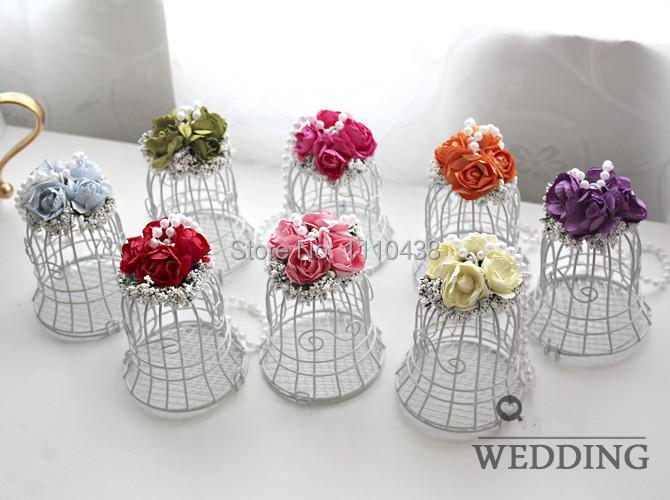 Cute Wedding Gift: Free Shipping Cute Metal White Bird Cage Candy Box Wedding
