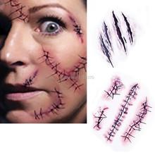 Waterproof etiqueta do tatuagem temporária em Halloween Terror realista a lesão cicatriz tatuagem falsa adesivos