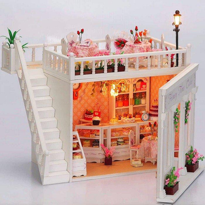 3D LED LIGHT Dollhouse Miniatures The Penthouse Balcony