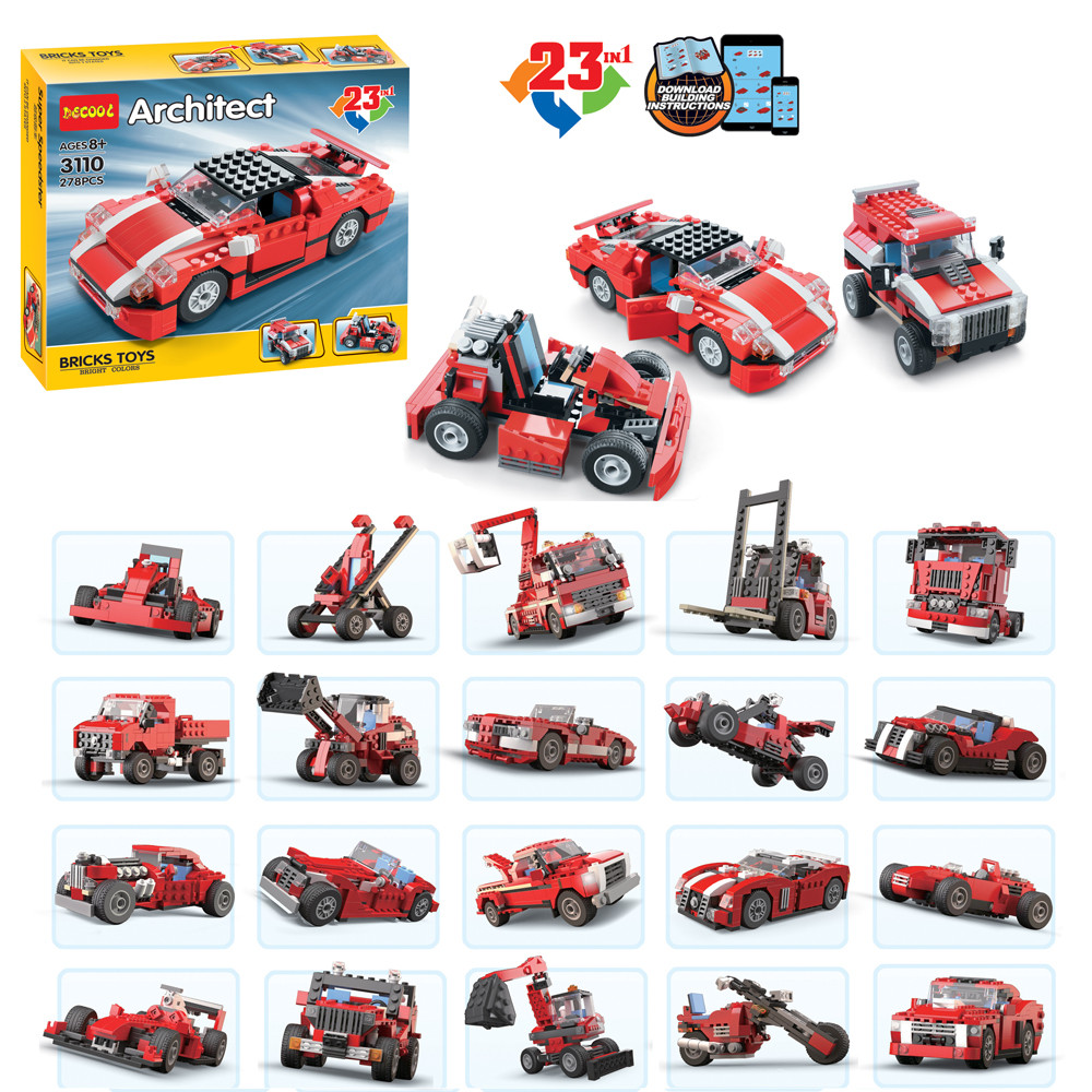 New Decool 3110 278Pcs Architect Vehicles Model Building Kits 23 in 1 Car Styling Forklift Blocks