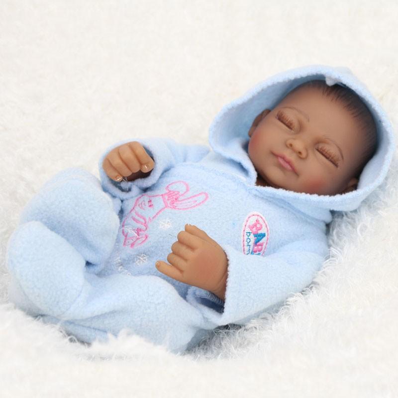 10 Inch Boy African American Baby Doll Black Realistic