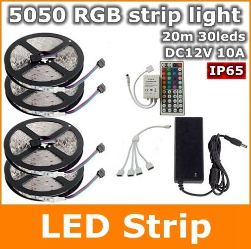 20m 5050 30leds m ip65 waterproof rgb flexible led strip light kit 44key remote control. Black Bedroom Furniture Sets. Home Design Ideas