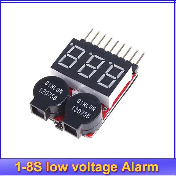 1pcs New Lipo battery Voltage Indicator volt meter monitor buzzer Alarm 1-8s 8S 3.7V-22.2V 3.7V 7.4V 11.1V 14.8V 18.5V 22.2V
