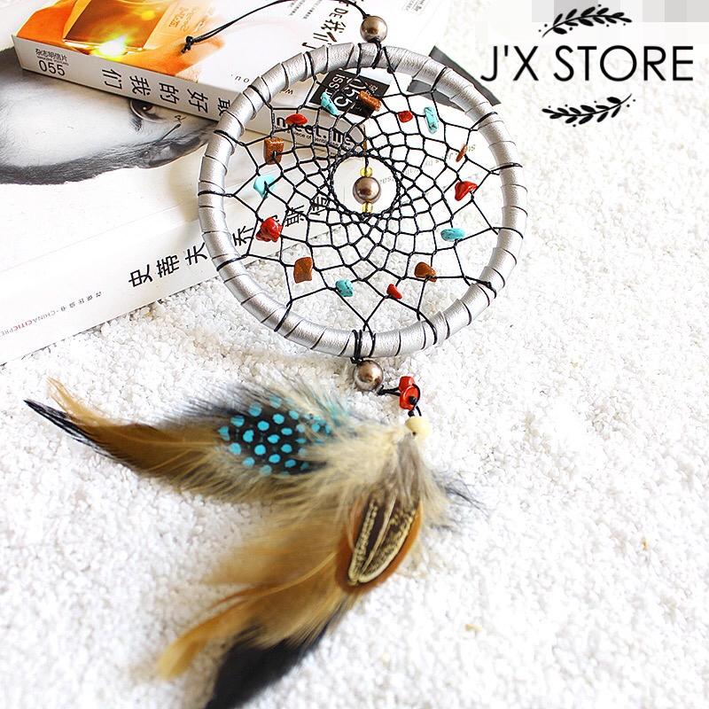 Dia11cm Handmade Feather Dream Catcher Dreamcatcher home decoration Indian Wind chimes pendant Household catcher dreams filter