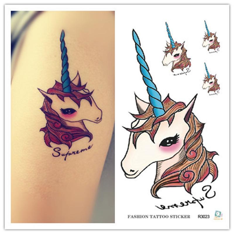 10cm Waterproof tattoos Personality unicorn tattoo stickers One time tattoo stickers toys