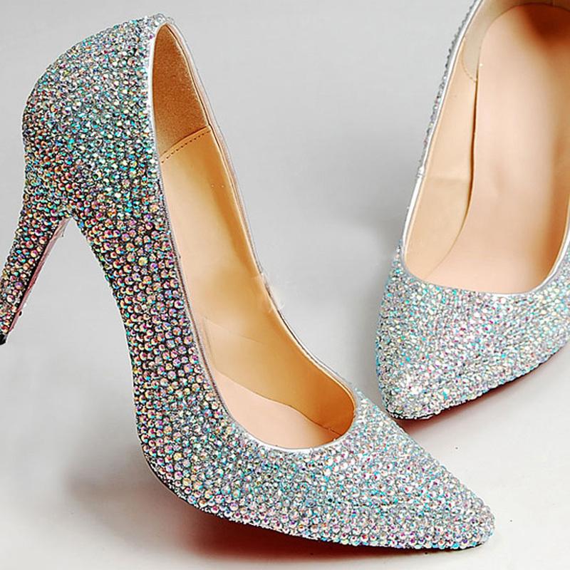 Wedding Dress Shoes Pointed Toe Rhinestone Bridal Dress