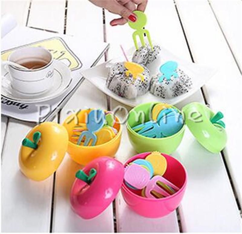 10PCS/lot YL51 Lovely Smile Plastic Fruit Forks Set Color ...