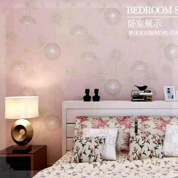 Non Girly Bedroom Ideas: 3 D Non Woven Wallpaper Bedroom Warm Dandelion Flower Girl