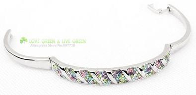 משלוח חינם הגעה לניו wholesales 18 K מצופה כסף+ אבני חן מעגל קאף צמיד צמיד קריסטל תכשיטי אופנה 2901