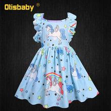 Платье с принтом в виде единорога для девочек на день рождения + аксессуары, праздничное платье-пачка для маленьких девочек, мягкая детская ...(Китай)