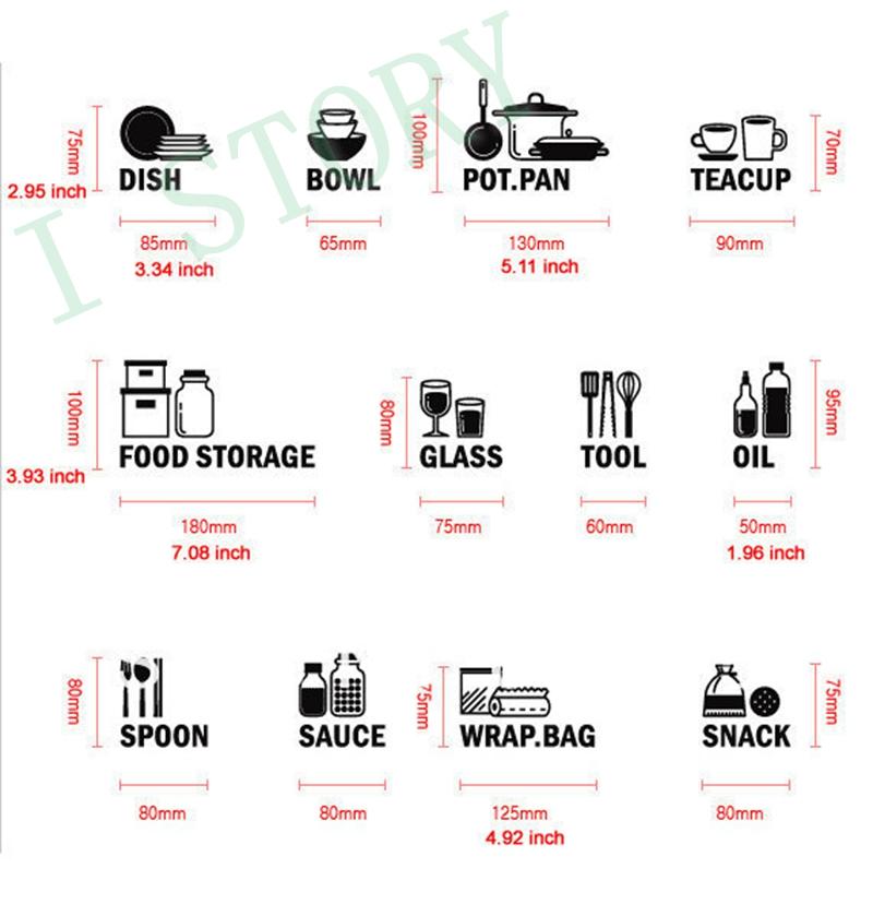 Kitchen Cabinet Labels: Modern Kitchen Cabinet Wall Stickers Vinyl Waterproof