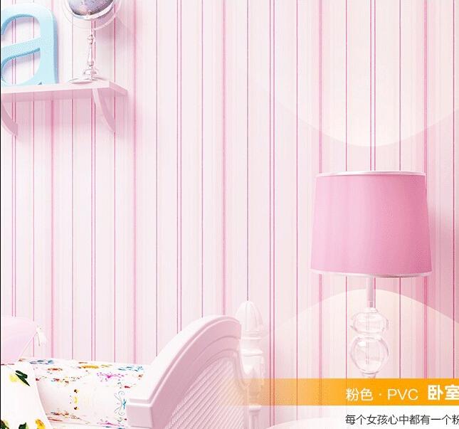 Modern pvc waterproof striped wallpaper kids room girls - Pink and white striped wallpaper bedroom ...