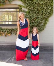 2016 summer mother daughter dresses stripe maxi mother and daughter clothes family look matching mother daughter