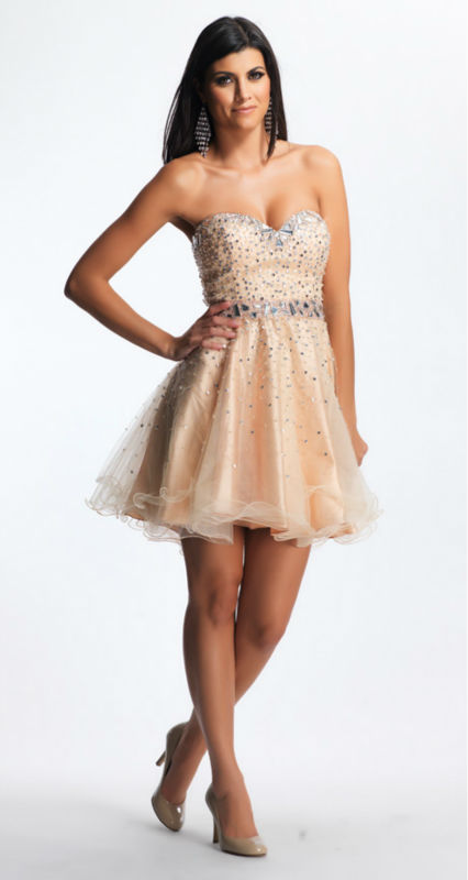 Short white lace prom dress
