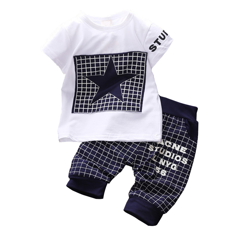 2016 New Baby boy clothes t shirt pants suit Clothing Sets summer Star Printed Clothes newborn