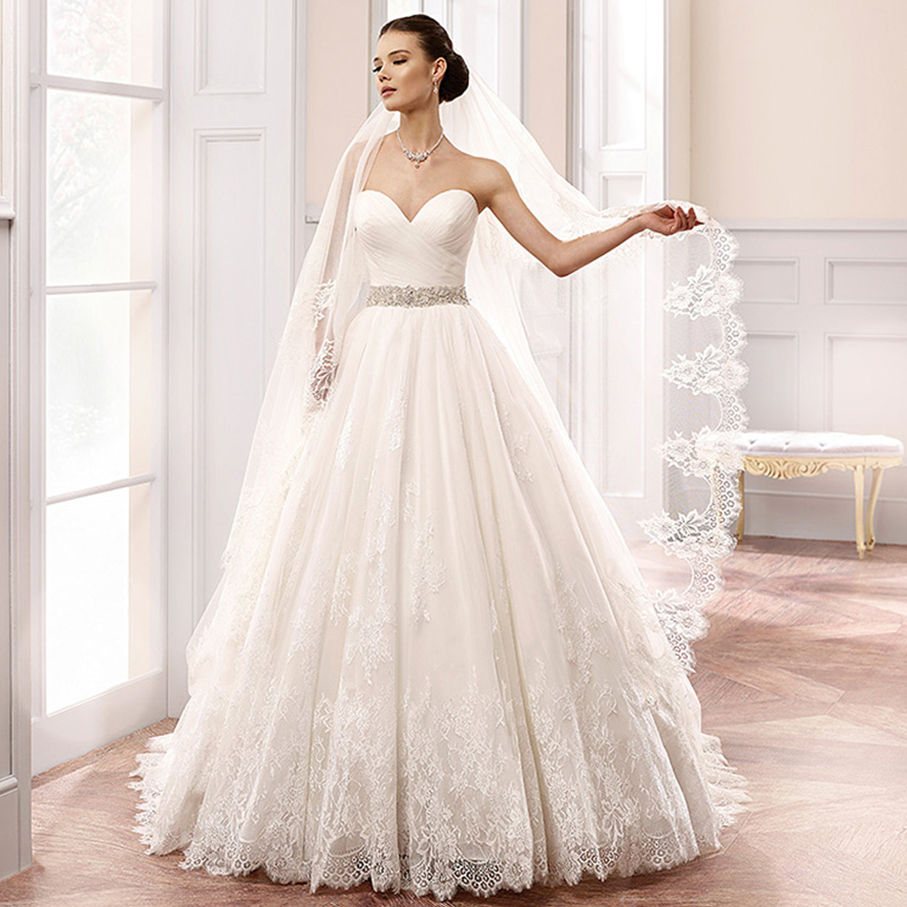 20 Elegant Simple Wedding Dresses Of 2015: 2015 Elegant White Princess Wedding Dresses Crystal Lace