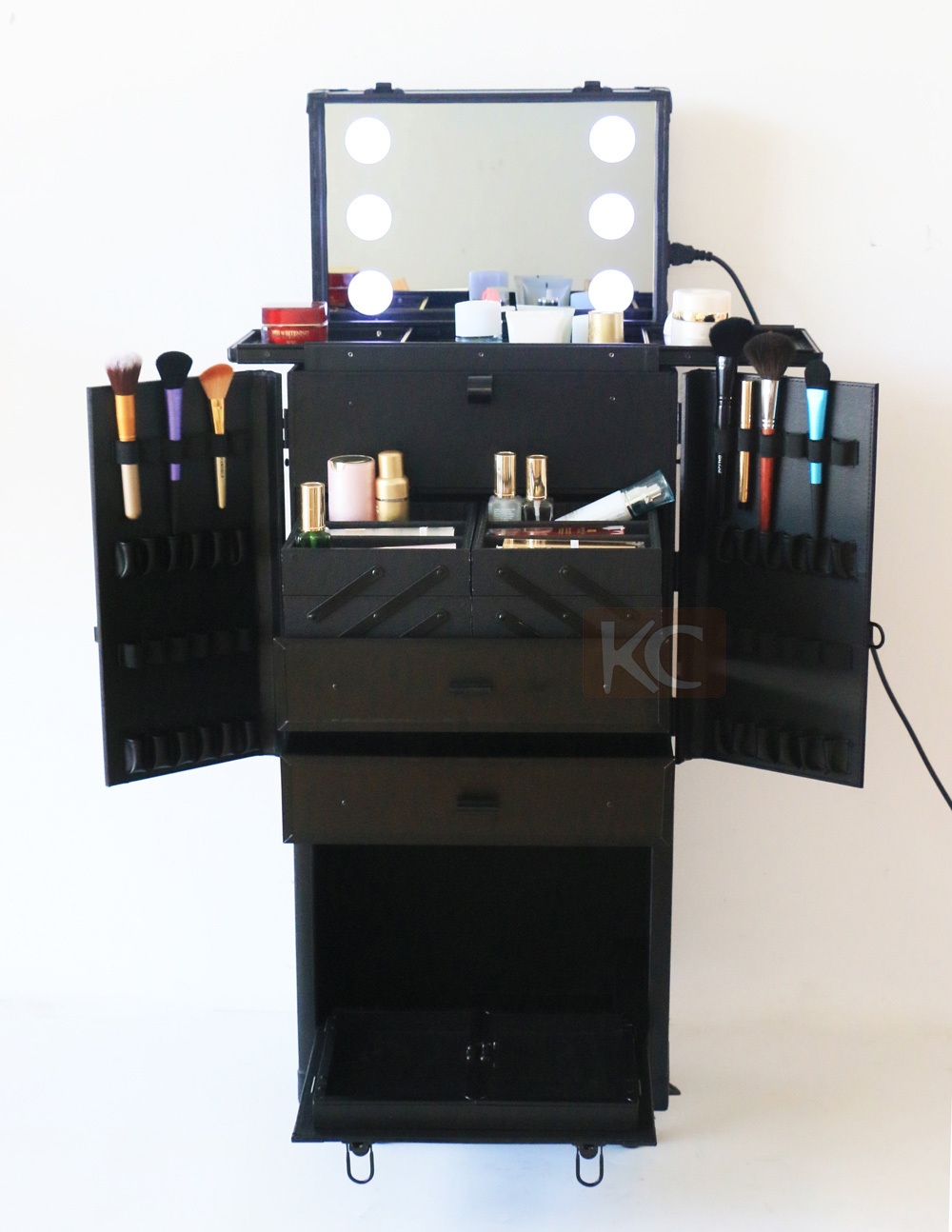 Supply New Design Pvc Black Lighted Makeup Case With