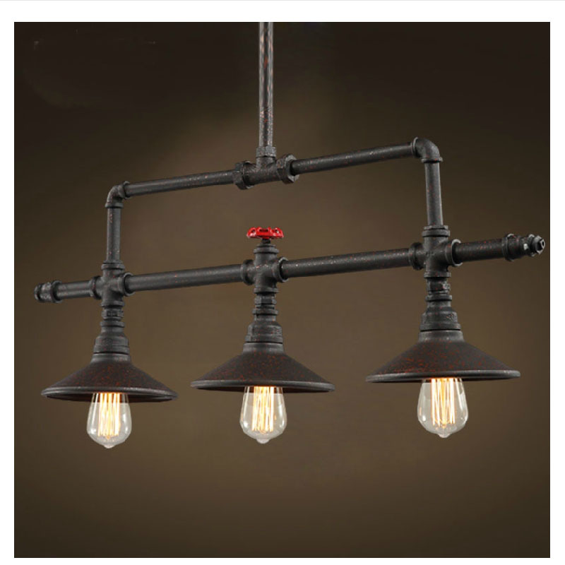 Industrial Pulley Light Fixture: American Retro Pulley Wrought Iron Loft Vintage Pendant