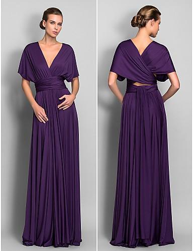 Long Sleeve Bridesmaid Dress Purple