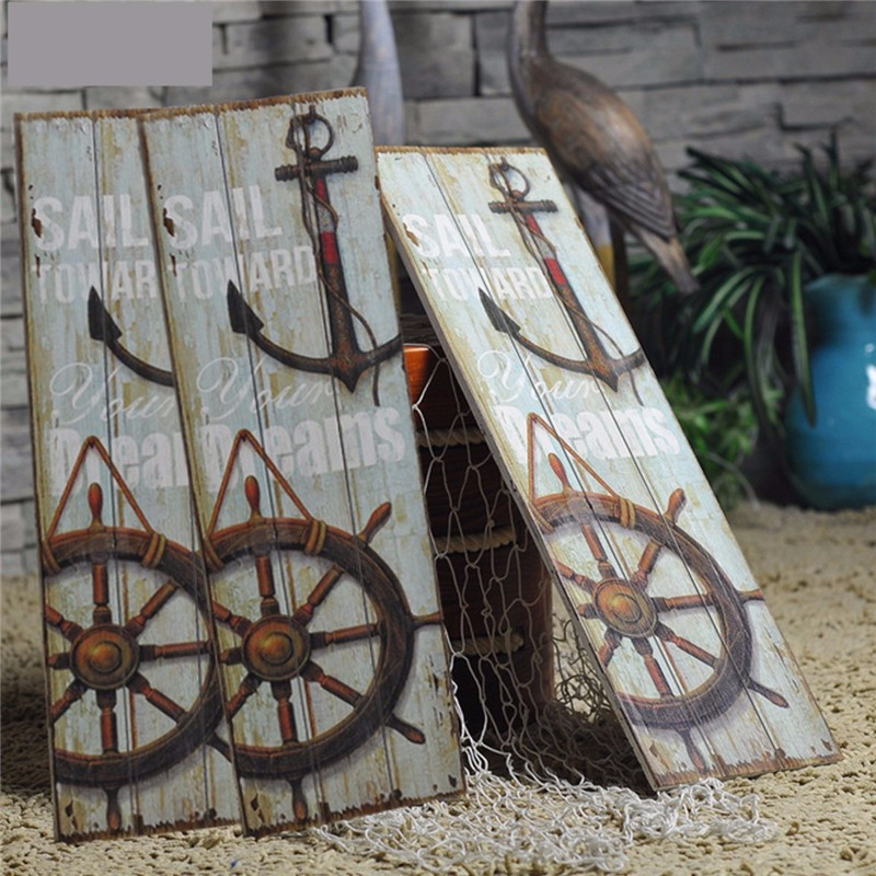 Fashion Nautical <font><b>Decor</b></font> <font><b>Rustic</b></font> Wooden Sign Plaque Wall Art Picture Lighthouse Design Anchor for <font><b>Home</b></font> Decoration Wood Crafts